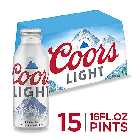Coors Light Lager Beer Aluminum Bottles 4.2% ABV - 15-16 Fl. Oz.