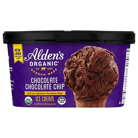 Aldens Organic Ice Cream Chocolate Chocolate Chip - 1.5 Quart