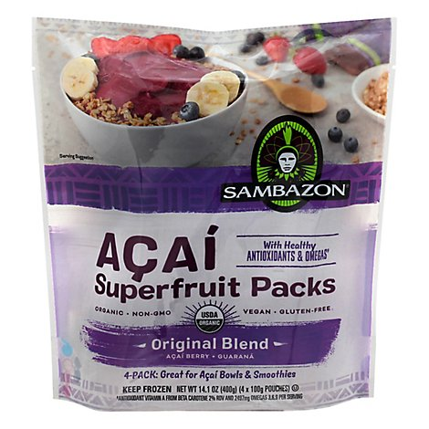 Sambazon Organic Superfruit Packs Orignal Blend Acai Berry + Guarana - 4-3.5 Oz