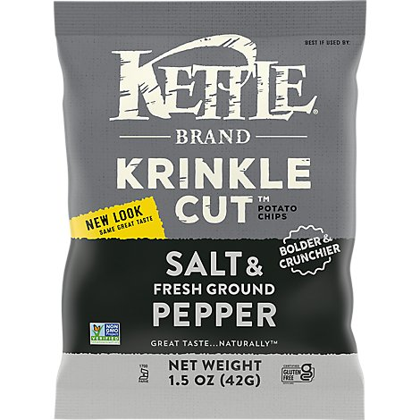 Kettle Potato Chips Krinkle Cut Salt & Fresh Ground Pepper - 1.5 Oz