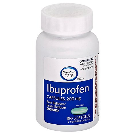 Signature Care Ibuprofen Pain Reliever Fever Reducer 200mg NSAID Softgel - 180 Count