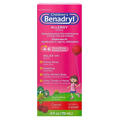 Benadryl Childrens Allergy Cherry Flavored Liquid - 4 Fl. Oz.