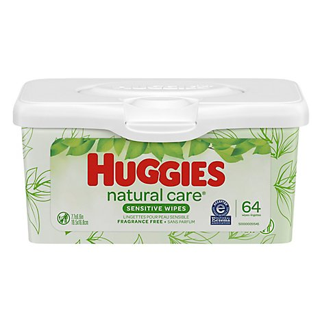 Huggies Natural Care Sensitive Baby Wipes Unscented Nursery Tub - 64 Count