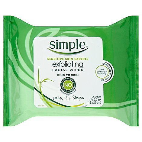 Simple Facial Wipes Exfoliating - 25 Count