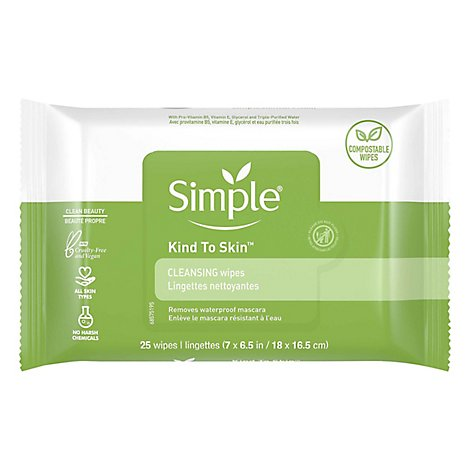 Simple Facial Wipes Cleansing Kind To Skin - 25 Count