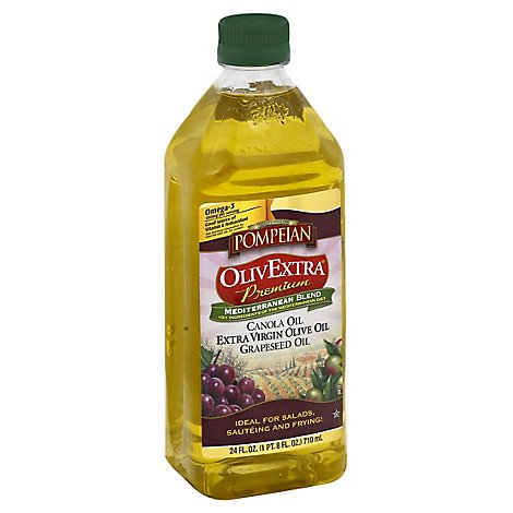 Pompeian OlivExtra Mediterranean Blend Premium Canola Oil Olive Oil & Grapeseed Oil - 24 Fl. Oz.