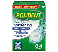 Polident Denture Cleanser Tablets Overnight Whitening Triplemint Freshness - 84 Count