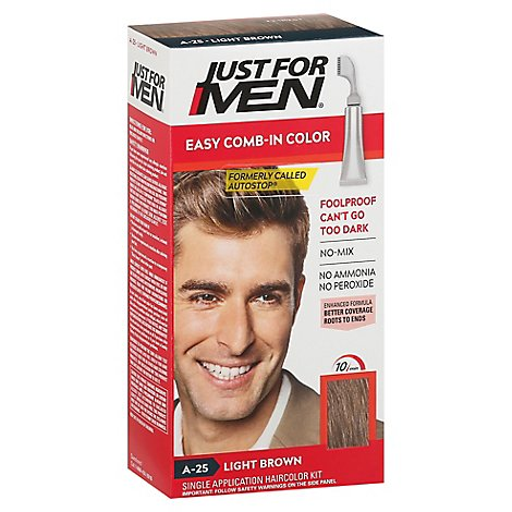 Just For Men Hair Color Autostop Comb-In Easy No-Mix Foolproof Light Brown A-25 - Each