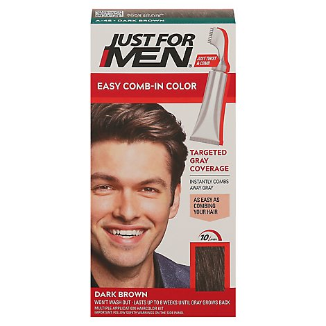 Just For Men Hair Color Autostop Comb-In Easy No-Mix Foolproof Dark Brown A-45 - Each