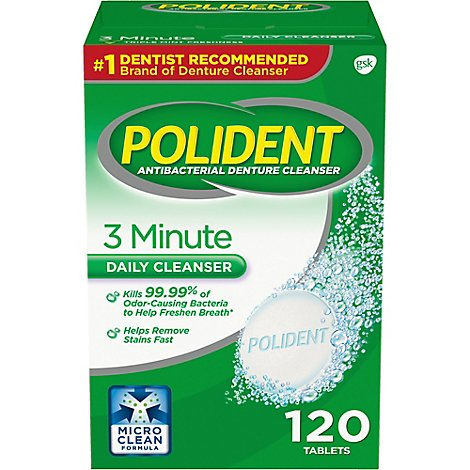 Polident Denture Cleanser Tablets 3 Minute Triplemint Freshness - 120 Count