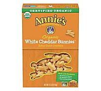 Annies Homegrown Cheddar Bunnies Crackers Organic Baked Snack White Cheddar - 7.5 Oz