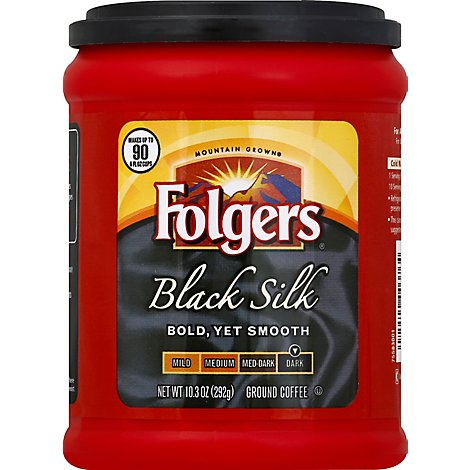 Folgers Coffee Ground Dark Roast Black Silk - 10.3 Oz