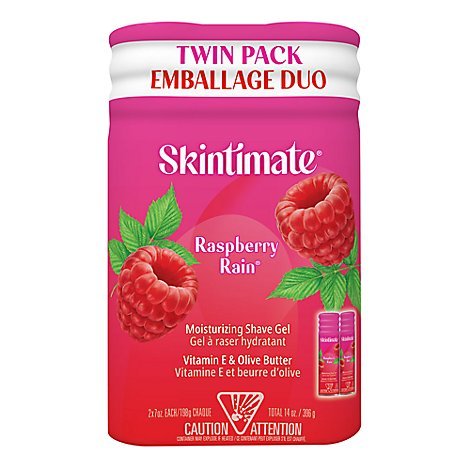 Skintimate Signature Scents Shave Gel Moisturizing Raspberry Rain Twin Pack - 2-7 Oz