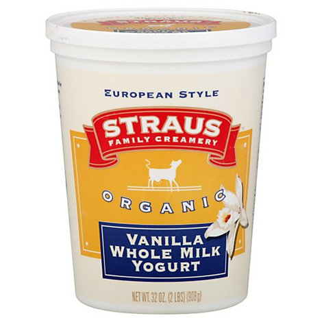 Straus Family Creamery Yogurt European Style Family Creamery Vanilla Whole Milk - 32 Oz