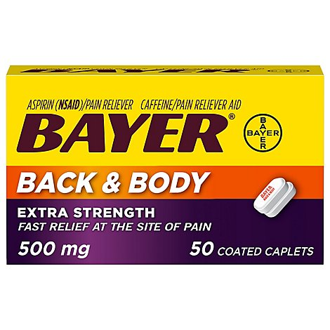Bayer Aspirin Caplets Back & Body Extra Strength Coated - 50 Count