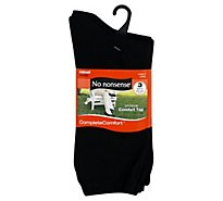 No nonsense Complete Comfort Socks Cotton Flat Knit Crew Size 4-10 - 3 Count