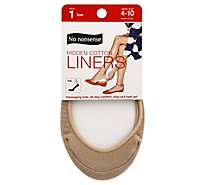 No nonsense Socks Liner Hidden Cotton Massaging Sole Beige Size 4-10 - Each