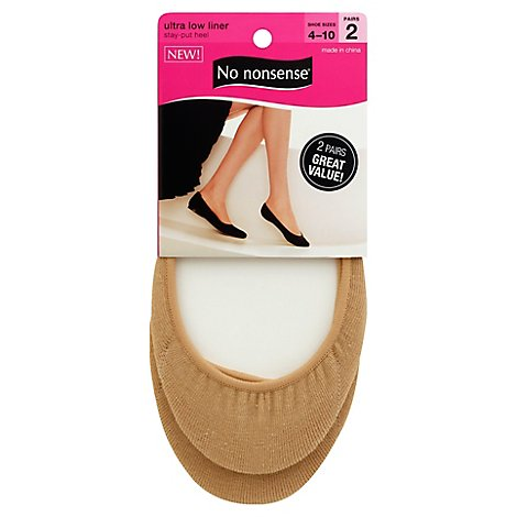 No Nonsense Nylons Ultra Low Liner Beige- 2 Pair