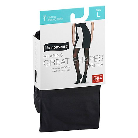 No Nonsense Great Shape Slky Opaque Tghts Black Large - 1 Pair