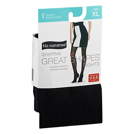 No Nonsense Great Shape Opaque Tghts Black Extra Large - 1 Pair