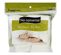 No nonsense Ten Toes Six Sox Socks Cushioned Womens Crew White Size 4-10 - 6 Count
