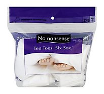 No nonsense Ten Toes Six Sox Socks Cushioned Womens Quarter Top White Size 4-10 - 6 Count