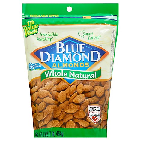 Blue Diamond Almonds Whole Natural - 16 Oz