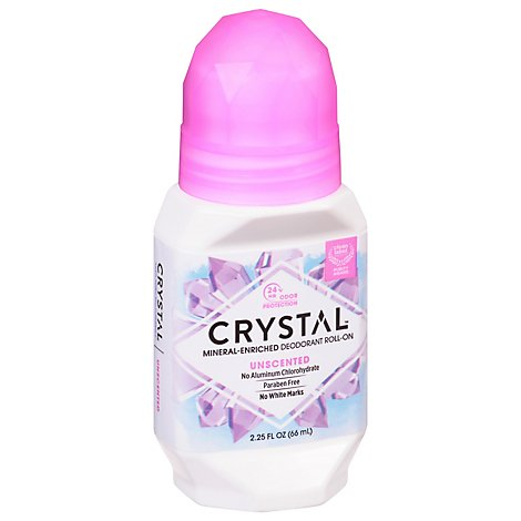 CRYSTAL Deodorant Roll On Mineral Unscented - 2.25 Fl. Oz.