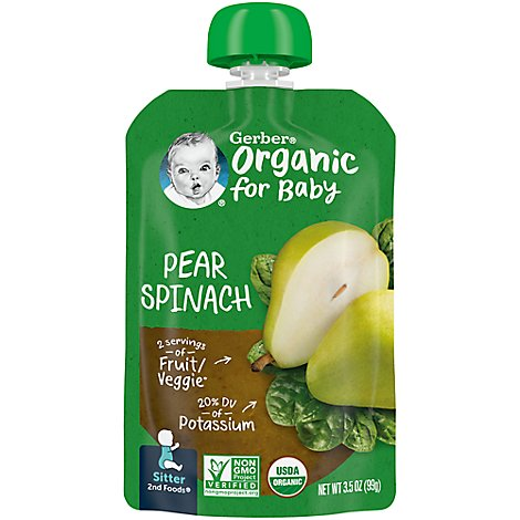 Gerber 2nd Foods Baby Food Sitter Organic Pear Spinach - 3.5 Oz