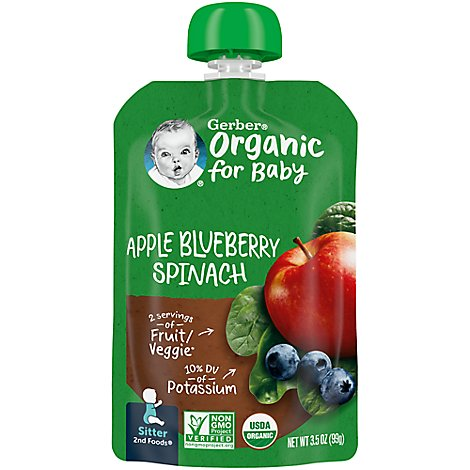 Gerber 2nd Foods Baby Food Apple Blueberry Spinach Pouch 3.5 Oz