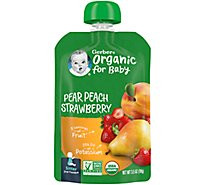 Gerber 2nd Foods Baby Food Sitter Organic Pear Peach Strawberry - 3.5 Oz