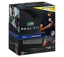 Depend Underwear For Men Real Fit Max Small-Medium - 12 Count