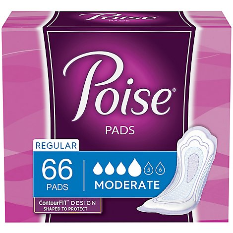 Poise Pads Moderate Absorbency Regular Length - 66 Count