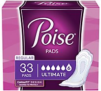 Poise Pads Regular Length Ultimate Absorbency - 33 Count
