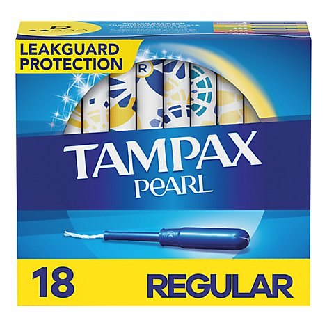 Tampax Pearl Tampons Plastic Regular Absorbency Unscented - 18 Count