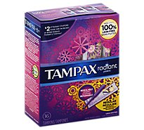Tampax Radiant Tampons Plastic Regular Absorbency Unscented - 16 Count