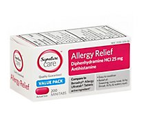 Signature Care Allergy Relief Diphenhydramine HCI 25mg Antihistamine Minitab - 200 Count