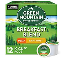 Green Mountain Coffee Coffee K-Cup Pods Light Roast Breakfast Blend Decaf - 12-0.31 Oz