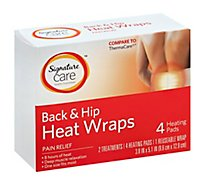Signature Care Heat Wraps Pain Relief Back & Hip - 4 Count