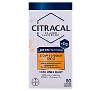 Citracal Calcium Supplement + D3 Slow Release 1200 Coated Caplets - 80 Count