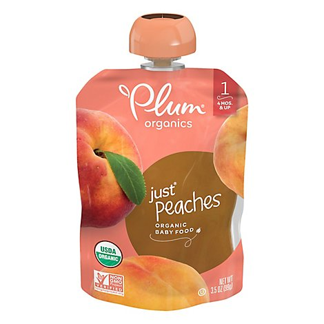 Plum Organics Baby Food Stage 1 Just Peaches - 3.17 Oz