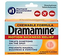 Dramamine Motion Sickness Relief 50mg Chewable Tablets Orange Flavored - 8 Count
