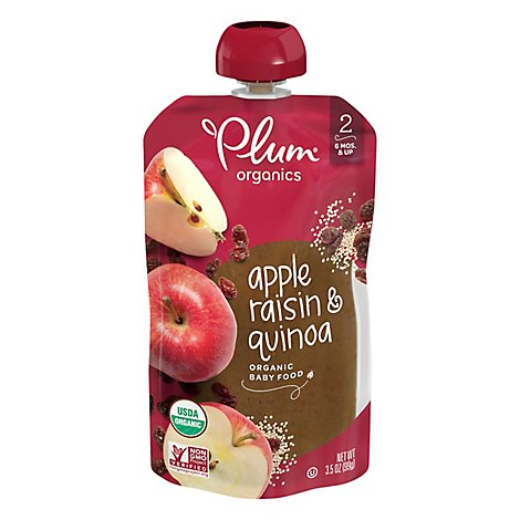 Plum Organics Baby Food Stage 2 Fruit & Grain Apple Raisin & Quinoa - 3.5 Oz