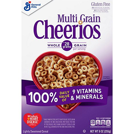 Cheerios Cereal Multi Grain Lightly Sweetened Gluten Free - 9 Oz