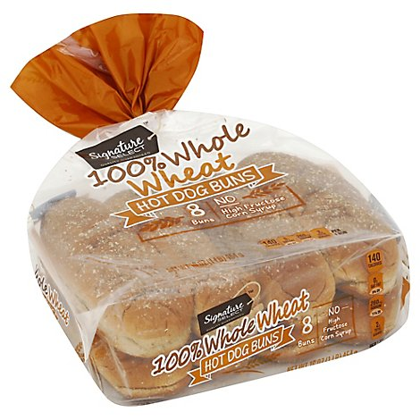 Signature SELECT Buns Hot Dog 100% Whole Wheat 8 Count - 16 Oz