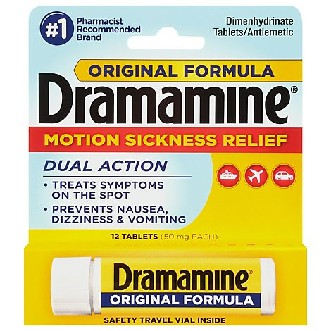 Dramamine Motion Sickness Relief 50mg Tablets Original Formula - 12 Count