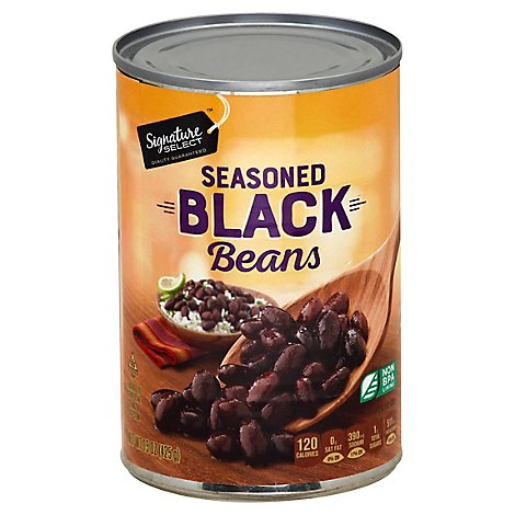 Signature SELECT Beans Black With Garlic Onion & Spices - 15 Oz