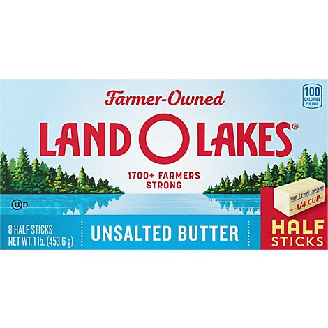 Land O Lakes Butter Stick Half Unsalted 8 Count - 1 Lb