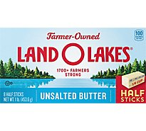 Land O Lakes Butter Sweet Cream Unsalted Half Sticks 8 Count - 1 Lb