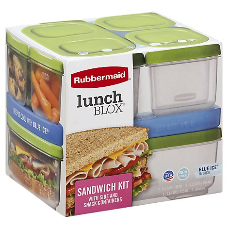 Rubbermaid Lunch Blox Sandwich Kit With Side And Snack Containers - Each